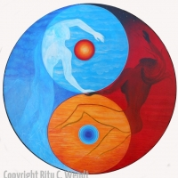 Yin und Yang mit der unendlichen Acht